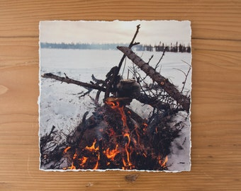 Tea Over a Bonfire 6x6 inch giclee fine art photography print with torn edge