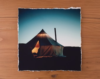 Canvas Tent at Dusk 6x6 inch giclee fine art photography print with torn edge