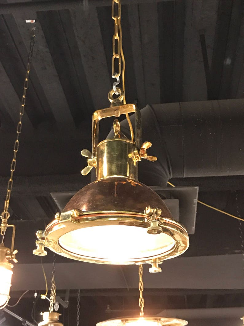 Vintage Brass and Copper Hanging Lights- Refurbished, Rewired and Ready for  use - Great hanging Island Lights