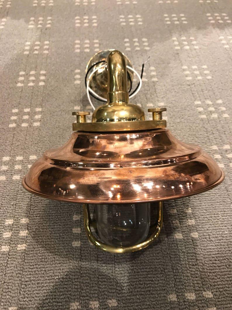 Terrific Vintage Brass Bulkhead Light With Copper Shade Restored Etsy Wiring Digital Resources Ntnesshebarightsorg