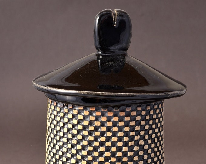Medium Height Textured Covered Jar, Lighthouse shaped- Black Gloss Glaze with Textured Outside Stained with Black Stain Rubbed Back