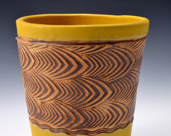 Stoneware Vase or Goblet with Impressed Pattern of Stylized Feathers, Satin Matte Turmeric Yellow - 12 ounces by Tom Bottman