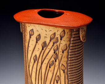 Tall Flattened Oval Stele Vase, Stoneware with Paprika Red Satin Glaze and Unglazed Texture Stained with a red-brown pigment