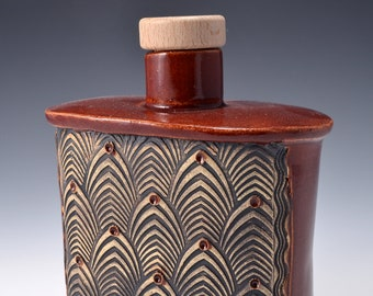 Handmade Whiskey Flask or Small Bud Vase with a Small Round Neck with Cork and Textured Design of stylized feathers