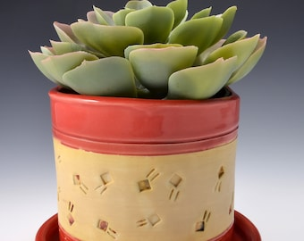 Indoor Planter with Saucer, Medium Size, Stoneware with Textured Pattern of Lines and Dots in yellow terra sigillata. Gloss Red Glaze