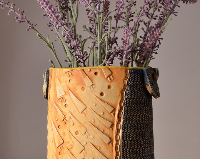 Tall Oval Vase, Stoneware with Turmeric Yellow Glaze and Unglazed Exterior Texture with a wheat colored pigment with Flying Triangles design