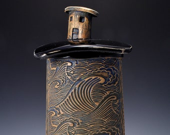 Tall Textured Covered Jar, Ocean Cottage Knob on  Lid - Gloss Black Glaze with Textured Outside Stained with Black-red Pigment