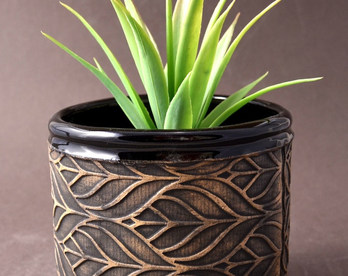 Small Size Round Indoor Succulent or Cactus Planter-Stoneware with Stained Unglazed Exterior with Gloss Black Glaze Inside and on Foot