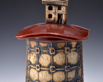 Medium Sculptural Stoneware Jar with Little Beach Cottage Knob on the lid, Rubbed back stain, gloss firedbrick red glaze by Tom Bottman