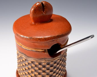 Sugar Bowl or Salt Cellar, with Opening for Spoon with Satin Paprika Red Glaze and Unglazed, Stained Outside With Raised Pattern