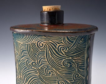 Handmade Whiskey Flask or Small Bud Vase with a Small Round Neck with Cork and Textured Design of swirling waves