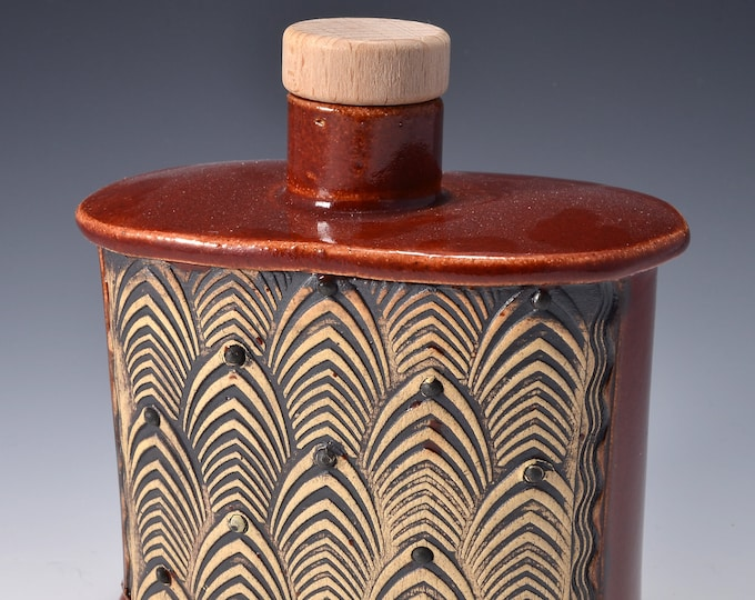 Handmade Whiskey Flask or Small Bud Vase with a Small Round Neck with Cork and Textured Design of stylized feathers by Tom Bottman