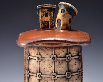 Medium Sculptural Stoneware Jar with Two Little Beach Cottages on the lid, Rubbed back stain, metallic copper red glaze by Tom Bottman