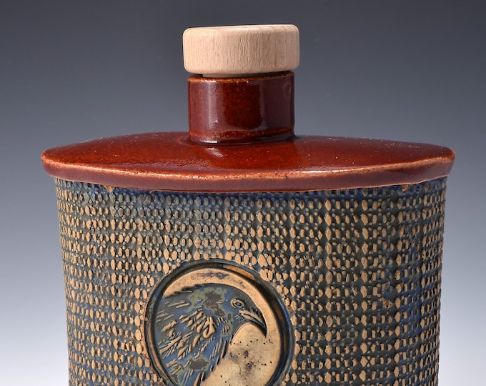 Handmade Whiskey Flask or Small Bud Vase with a Small Round Neck with Cork and Textured Design with Crow