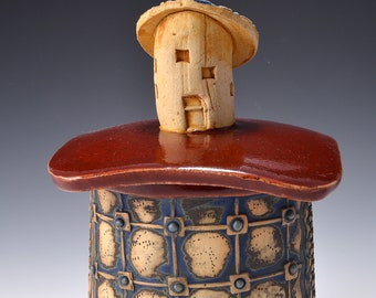 Small Sculptural Stoneware Jar with Dory Boat Knob on the lid, Rubbed back green-brown stain, firebrick red glaze by Tom Bottman