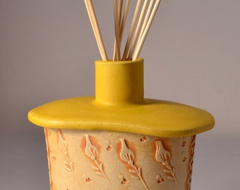 Handmade Reed Oil Diffuser or Small Bud Vase or Flask with a Small Round Neck and Textured Floral Pattern design