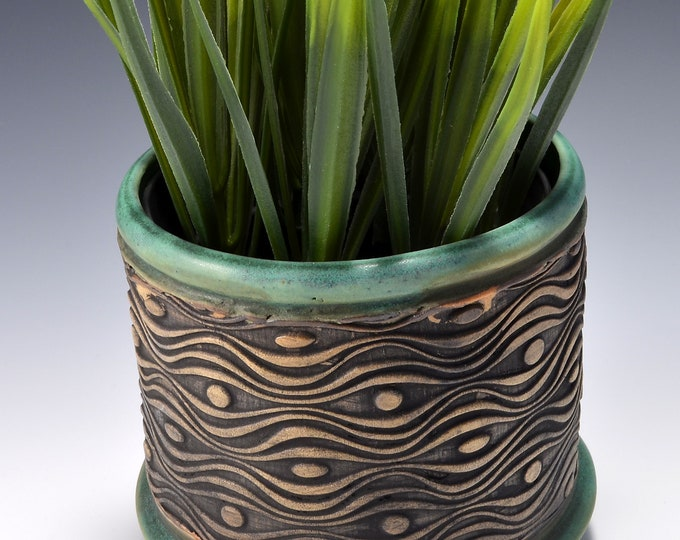 Small Size Round Indoor Succulent or Cactus Planter-Stoneware with Stained Unglazed Exterior with Matte Copper Green Glaze Inside