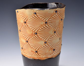Stoneware Vase or Goblet with Impressed Pattern of Stylized Fans, Metallic Ancient Jasper glaze - 16 ounces by Tom Bottman
