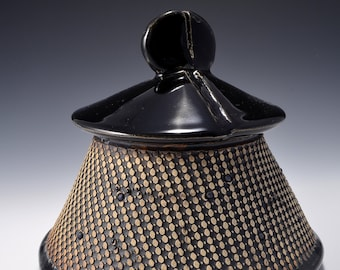 Medium Textured Covered Stoneware Jar, Pagoda shaped- Gloss Black Glaze with Textured Outside with Black Stain