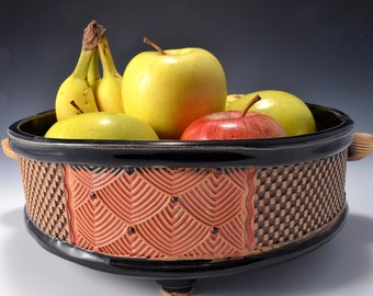 Large Size Round Straight Sided Bowl for Fruit or Vegetables, Unglazed Textured Outside. Makes a nice Succulent Planter or Cactus Planter