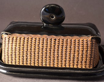 Large Covered Butter Dish with Geometric Pattern with Gloss Black Glaze by Tom Bottman