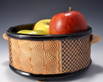 Medium Size Round Straight Sided Bowl for Fruit or Vegetables, Unglazed Textured Outside. Makes a nice Succulent Planter or Cactus Planter