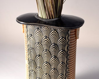Tall Flattened Oval Stele Vase, Stoneware with Gloss Black Glaze and Unglazed Texture Stained with a Black pigment