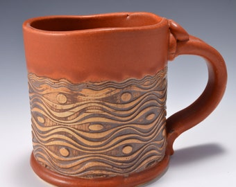 Stoneware Mug with Impressed Pattern of Wavy Lines and dots, Paprika Red Matte Glaze - 14 ounces by Tom Bottman