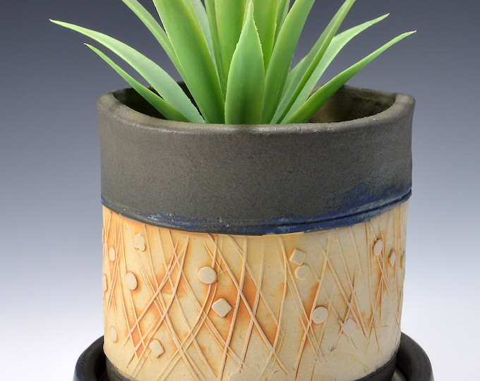 Small Size Indoor Planter with Saucer, Stoneware with Textured Pattern of modern lines and dots. Matte Kalamata Glaze