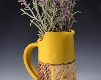 Medium Size Pitcher Stoneware with Turmeric Yellow Glaze and Unglazed Exterior Feather Pattern Texture with a red-brown colored pigment