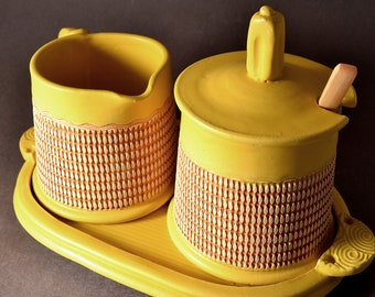 Sugar and Cream Set Matte Yellow Turmeric Glaze With Red-Black Stain wiped back on a geometric pattern by Tom Bottman