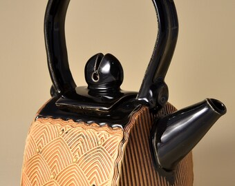 Small Teapot with Art Deco feather Pattern, finished with Ceramic Stain and a Gloss Black Glaze