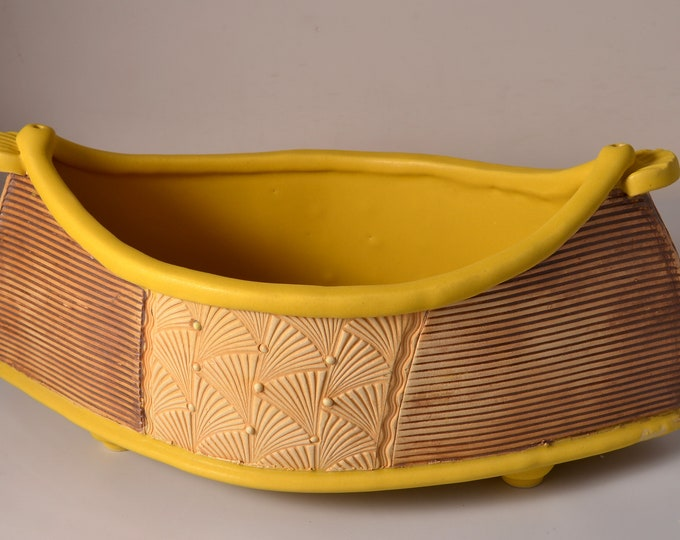 "Large ""Dory"" Shaped Long Serving bowl with Matte Turmeric Yellow glaze and stained and textured exterior"