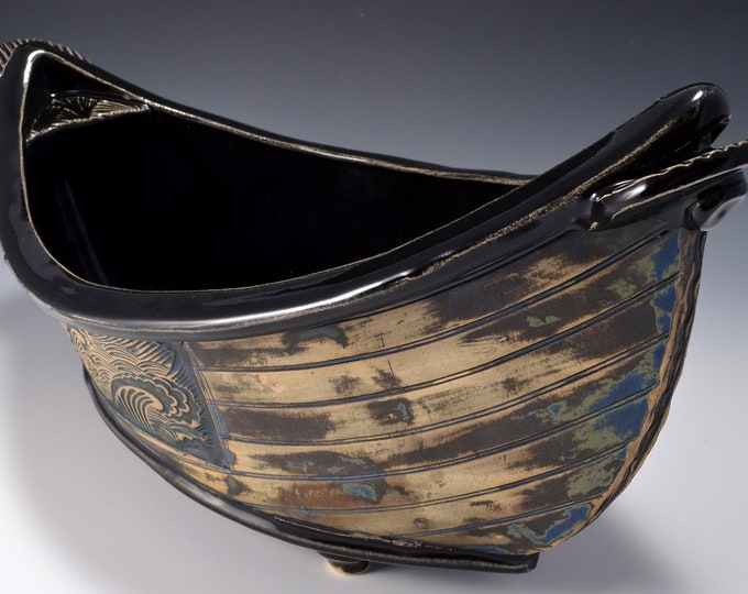 "Large ""Dory"" Shaped Long Serving bowl with Gloss Black glaze and stained and textured exterior with a rustic paint pattern by Tom Bottman"