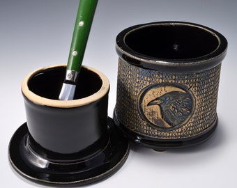 French Butter Keeper or Crock with Raven Image with Gloss Black Patent Glaze by Tom Bottman