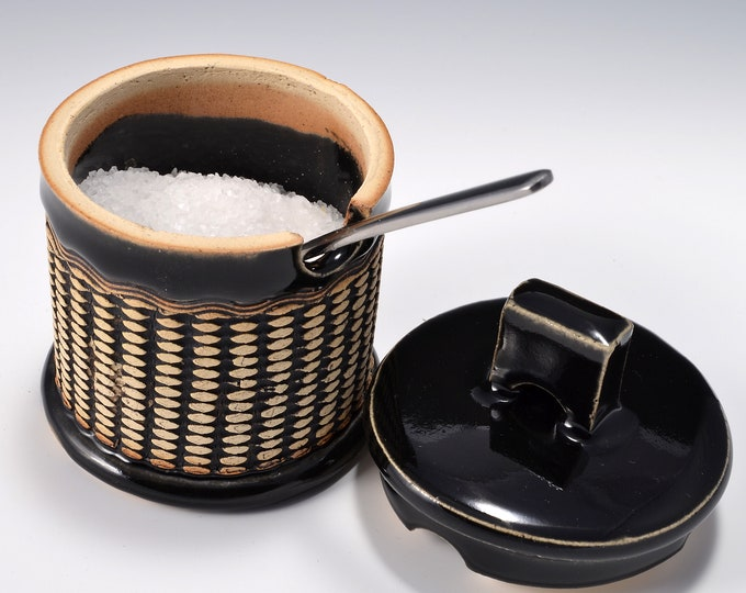 Sugar Bowl or Salt Cellar, with Opening for Spoon or Little Scoop with Shiny Black Glaze and Unglazed, Stained Outside With Raised Pattern