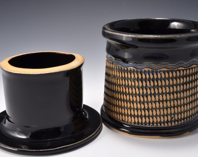 French Butter Keeper or Crock with Geometric Pattern with Gloss Black Patent Glaze by Tom Bottman