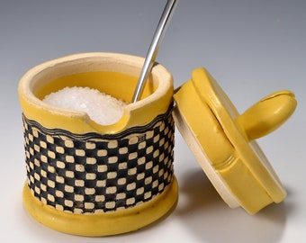 Sugar Bowl or Salt Cellar, with Opening for Spoon or Little Scoop with Matte Turmeric Yellow Glaze and Unglazed, Stained Outside Texture