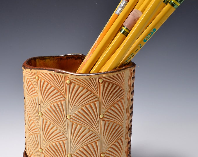 Oval Desktop Pencil and Pen holder in Ancient Copper Glaze and Lively Textured Exterior with Stylized Fan Image by Tom Bottman