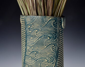 Tall Oval Vase, Stoneware with Ancient Jasper Glaze and Unglazed Exterior Texture with a crashing wave scene with blue-green wash