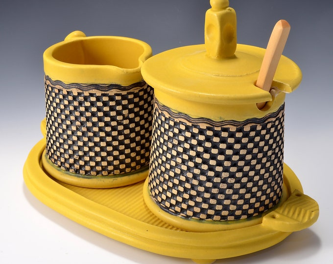 Sugar and Cream Set Matte Yellow Turmeric Glaze With Black Stain wiped back on a geometric pattern by Tom Bottman