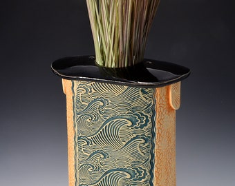 Tall Flattened Oval Stele Vase, Stoneware with Gloss Black Glaze and Unglazed Texture Stained with pigments