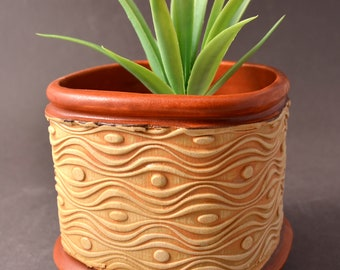 Small Size Square Indoor Succulent or Cactus Planter-Stoneware – Stained Unglazed Exterior with Matte Paprika Red Glaze Inside and on Foot