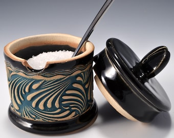 Sugar Bowl or Salt Cellar, with Opening for Spoon or Little Scoop with Gloss Black Glaze and Unglazed, Stained Outside Texture