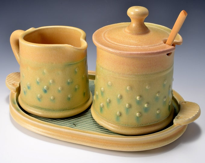 Sugar and Cream Set Matte Peachy Yellow Glaze With Copper Green Wash over a Raised Dot Pattern with Tray - by Tom Bottman
