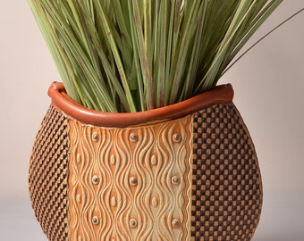 Medium Tall Oval Vase, Stoneware Glaze and Unglazed Exterior Texture with a ambrosia and red pigments stained on design & black checkerboard