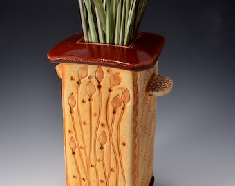 Tall Square Vase, Stoneware with Metallic Firebrick Red Glaze and Unglazed Exterior Texture with a Winding Reed pattern