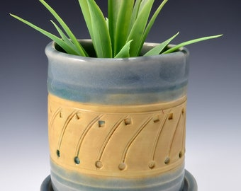 Small Size Indoor Planter with Saucer, Stoneware with Textured Pattern of Lines and Dots in terra sigillata. Celadon Green Glaze