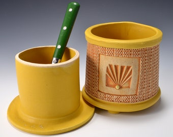 French Butter Keeper or Crock with Checkerboard Impressed Pattern with Matte Turmeric Yellow Glaze by Tom Bottman