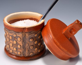 Sugar Bowl or Salt Cellar, with Opening for Spoon or Little Scoop with Matte Paprika Red Glaze and Unglazed, Stained Outside Texture